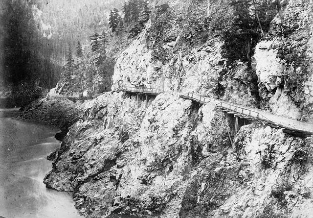 Cariboo Wagon Road in Fraser Canyon 1867