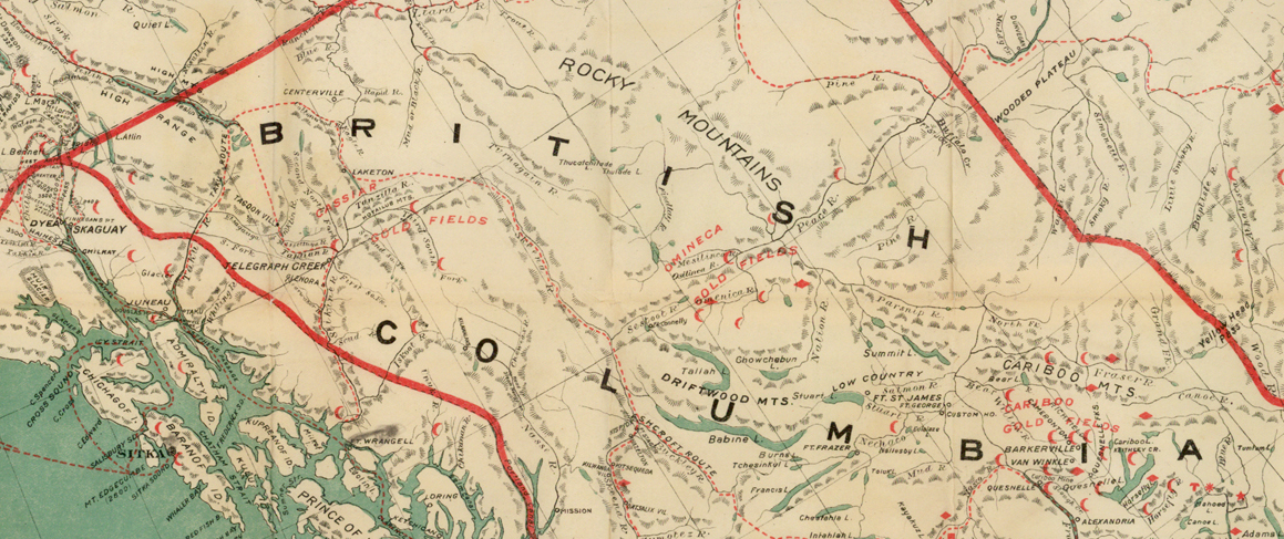 Northern BC circa 1898, red symbols are known gold discoveries