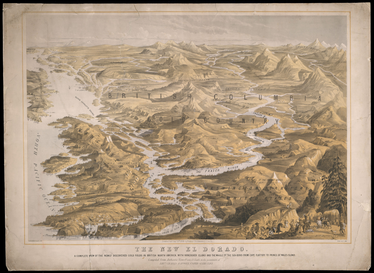Map of British Columbia Goldfields circa 1858